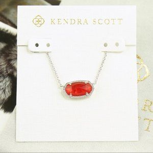 Kendra Scott Elisa ruby red silver necklace KS
